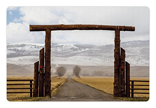 Western Pet Mats for Food and Water by Lunarable, Big Log Gate Lane Montana Cattle Ranch in Winter Countryside Hills Cloudy Sky, Rectangle Non-Slip Rubber Mat for Dogs and Cats, Brown Grey (Big Sky Log)