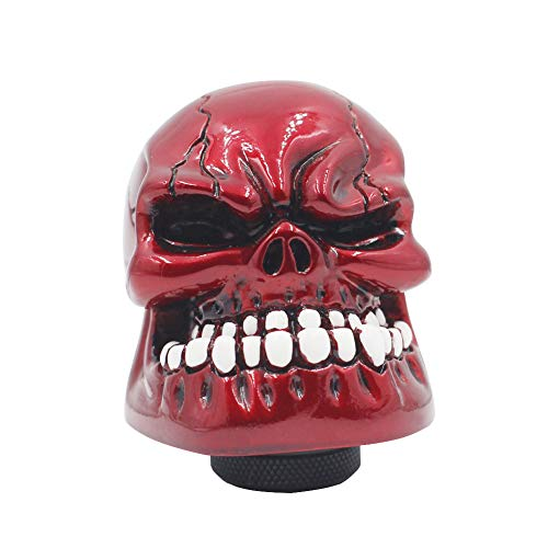 Sakali Resin Human Bone Skull Car Gear Stick Shift Shifter Knob Universal fit for Most Manual Transmission or Automatic Transmission Without Lock Button(Red)