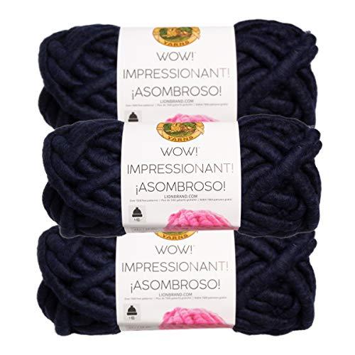 Lion Brand (3 Pack) Wow! Acrylic & Wool Soft in The Navy Blue Yarn for Knitting Crocheting Jumbo #7 (Yarn Lion Brand Navy)