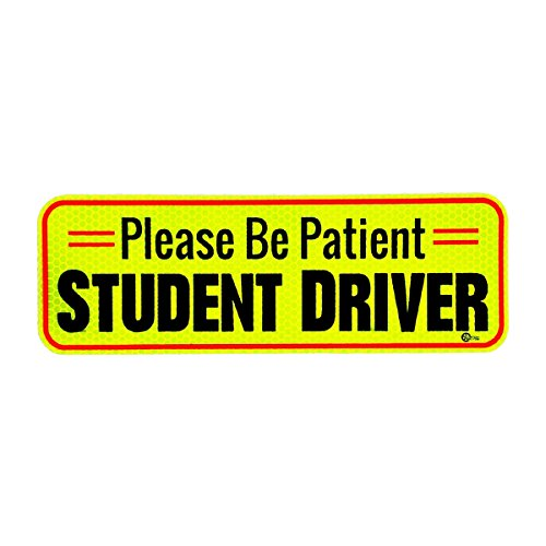Young Driver - VaygWay Car Student Driver Magnet- Driver Bumper Decal Side Magnet- Please Be Patient Student Driver- Reflective Sign 1 Pk Auto- Kids, Teens, Beginners, Safety Sign