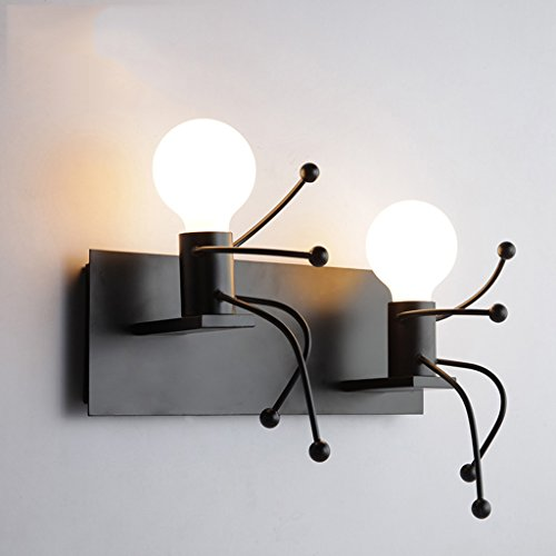 Black Iron Wall Lamp, Creative Personality Simple Modern Living Room Bedroom Bedside Lamp Art Villa Corridor Lighting (Single Head, Double Head) (Size : B)