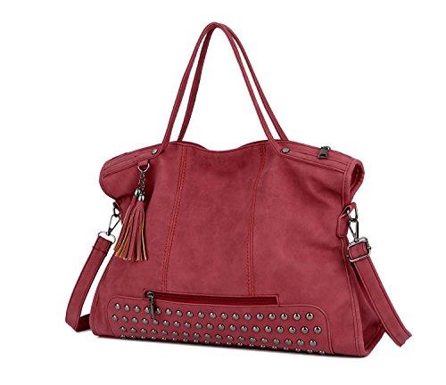 Red shoulder top Motorcycle handle Pahajim handbag Studded women Tassel Rivet bag Punk satchel leather PwOxwqWU61