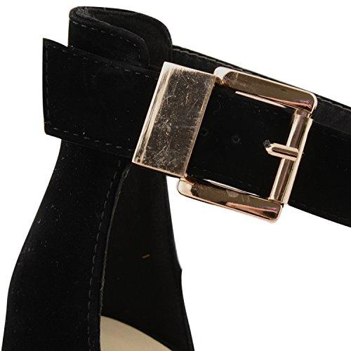 New Ladies Plataforma Strappy Oro Hebilla tobillera alto talón sandalias para mujer noche fiesta Peep Toe zapatos de Glam negro
