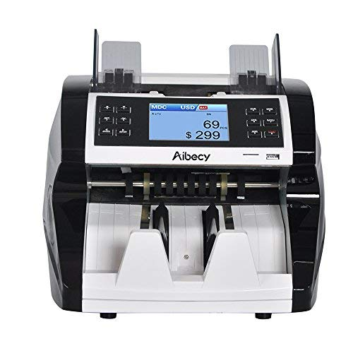 Aibecy Bill Counter Multi-Currency Cash Banknote Money Bill Automatic Counter Counting Machine with UV MG MT IR Counterfeit Detector Supports Mixed Value Counting Function for EURO/USD/GBP/AUD/JPY/KRW
