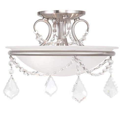 Forged Bronze Two Light Bath - Livex Lighting 6523-91 Chesterfield/Pennington 2 Light Ceiling Mount, Brushed Nickel
