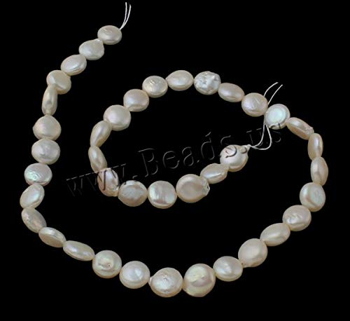 (Calvas Cultured Coin Freshwater Pearl Beads Natural White 9-10mm Approx 0.8mm Sold Per Approx 15.3 Inch Strand)