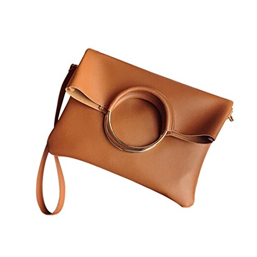 LLguz Fashion Fresh and Lively Women Leather Circle Ring Shoulder Bag+Clutch Wallet (Brown)