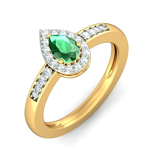14K Or jaune, 0.17CT TW Diamant Blanc (IJ | SI) Émeraude et diamant Bague
