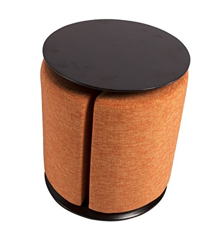 Monarch Side Table and Ottoman (Orange)