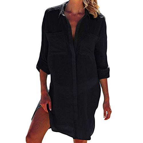 Womens Sexy Tops 2019, YEZIJIN Women Beach Cover Up Button Down Pocket Shirts Sunscreen Bikini Swimsuit Blouse Black -