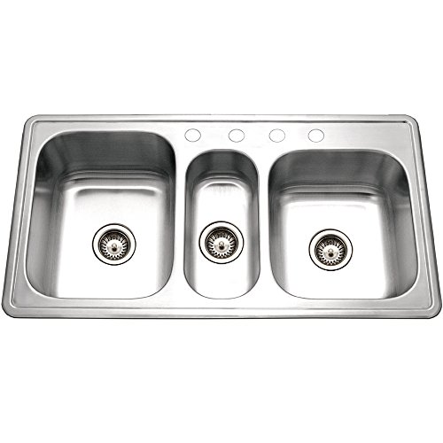 Houzer Pgt 4322 1 Premiere Gourmet Series Topmount Stainless Steel 4 Hole Triple Bowl Kitchen Sink Amazon Com