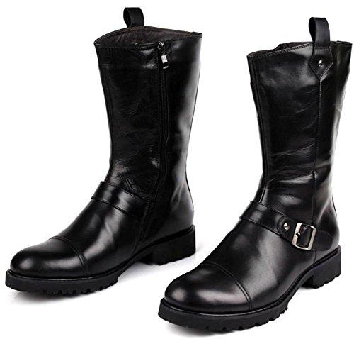Botas Lado Black Cuero Zapatos Más Algodón Negro Antideslizante Cachemira Tacón Otoño Bajo Cremallera Martín Invierno Hombres Rodilla Velvet Británico Alto fxEwA6qB