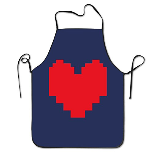 Women's Apron - Pixel Art Red Heart Kitchen And Cooking Apron, Durable Stripe For Cooking, Grill And Baking