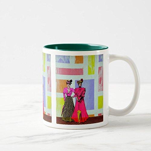 Zazzle Gibson Girls in a Mondrian Pattern Coffee Mug, Hunter Green Two-Tone Mug 11 (Gibson Girl Costume Pattern)