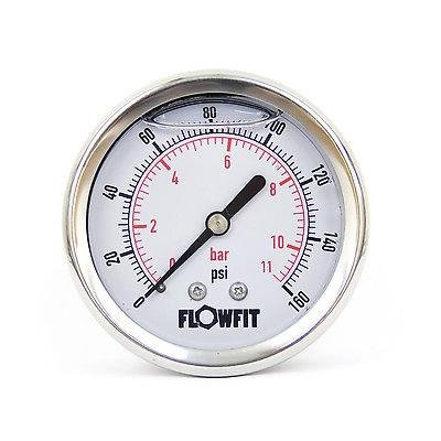 63mm Glycerine Filled Hydraulic pressure gauge 0-160 PSI (11 BAR) 1/4' bsp rear entry Flowfit