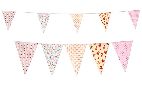 35 Flags Vintage Baby Shower Tea Party Pennant Flag Banner Bunting Party Decoration Banner (C1356) by Super Stars