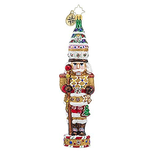 "Christopher Radko Candy Cracker Nutcracker Candy & Gingerbread Themed Glass Christmas Ornament - 7.5""h."