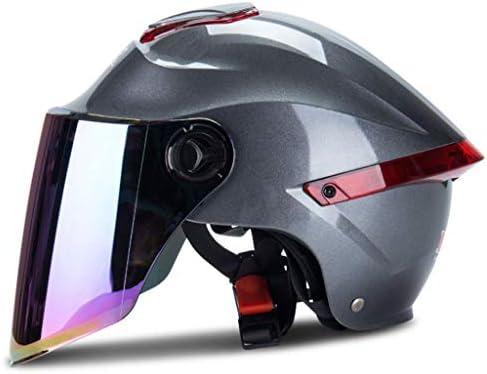 NJ ヘルメット- 電動車のヘルメットの男性と女性のハーフカバーの抗UV日焼け止めの四季のカラーレンズヘルメット (色 : ローズレッド, サイズ さいず : 33x22x28cm)