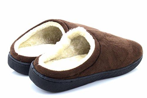 Polaire Brun Mule Slip Chaud Intérieur Faux Hiver Gris Sur Suède Au Pantoufles En Mens xUW8E8