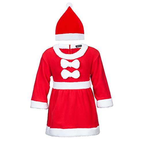 Adoy Kids Santa Romper Costume with Hat For Infant and Toddler Christmas Costumes (80(6-12Month), Red (Costumes For Infants And Toddlers)