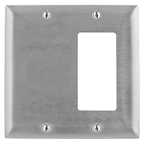Bryant Electric SS1426 Metallic Wallplate, 2-Gang, 1 Blank 1