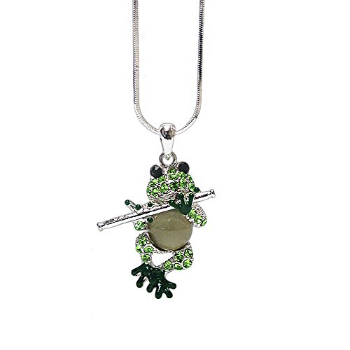 Sterling Silver Frog Pendant - Lola Bella Gifts Crystal Frog Playing a Flute Pendant Necklace with Gift Box