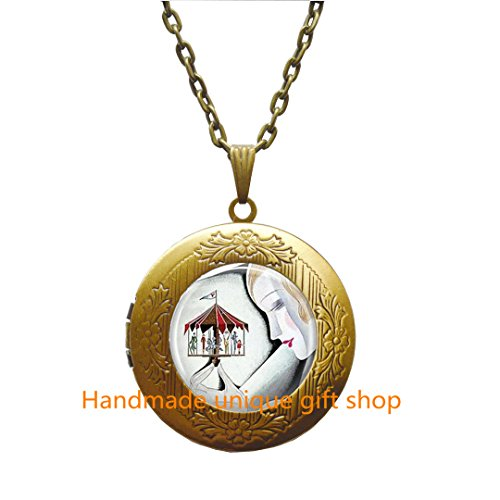 Handmade unique gift shop Beautiful Locket Necklace,Gift Locket Necklace,Art Deco Jewelry Woman with Carousel Merry Go Round Art Locket Pendant in Bronze or Silver with Link Included.TD051 (B)