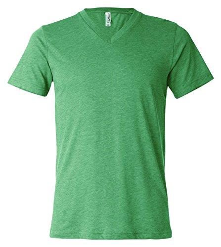- Canvas Bella Unisex Triblend V-Neck T-Shirt, Green Triblend, Small