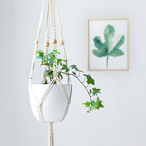Mkono Macrame Plant Hanger Hanging Planter With Wooden Beads 41 (Beaded Pot)