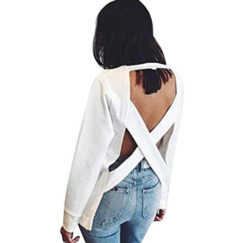 Lisingtool Women Autumn Winter Back Cross Hollow Loose Sweater Top Blouse (L, White)