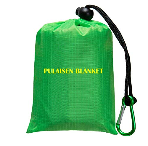 Pulaisen Pocket Camping Blanket - Waterproof Beach Blanket Mat, Ground Cover,Compact Lightweight Sand Proof Travel, Hiking,Camping, Outdoor Picnic 56″x80″ (Green&Gray)