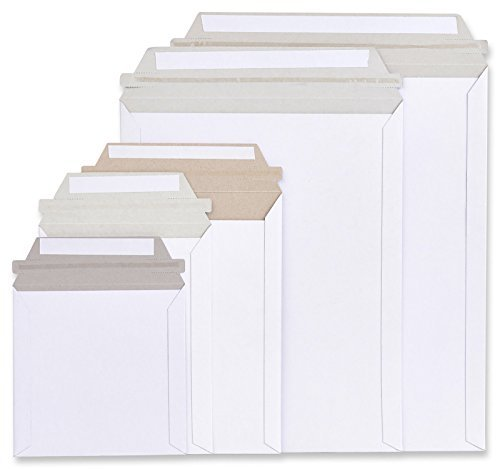 20 Pack Rigid Mailers size 7 x 9 ( 7x9 ). White Cardboard Self sealing envelopes. Stay Flat mailers & No bend mailer. Premium Quality. 26pt paperboard. Photo & Documents & DVD & CD. Mfg# 9x7.