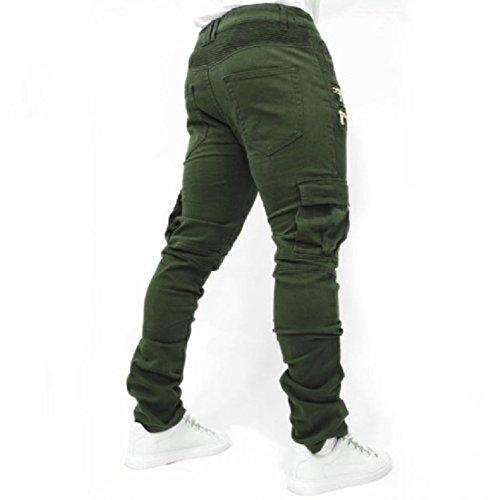 Men's Trousers Wish Men's Folding Elastic Jeans Cotton spot Trousers,Green,L by Puissant Pants (Image #2)