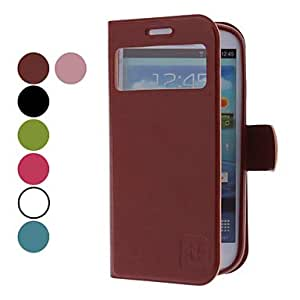MOVSOINA PU Leather Case with Viewable Screen for Samsung Galaxy S3 I9300 (Assorted Colors) --- COLOR:Blue