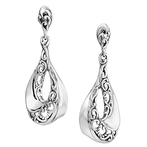 Carolyn Pollack Sterling Silver Wave Dangle Earrings