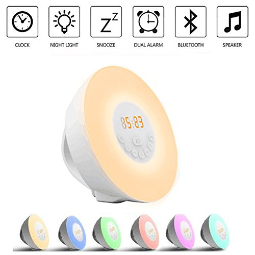 Wake Up Light Alarm Clock Sunrise Sunset Simulation [2018 UPGRADED] Bluetooth Speaker/6 Natural Sounds