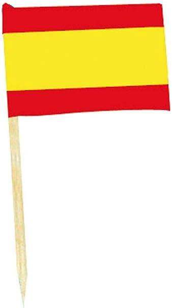 50 pequeñas banderas España con picos para Aniversario y aperitivo: Amazon.es: Hogar