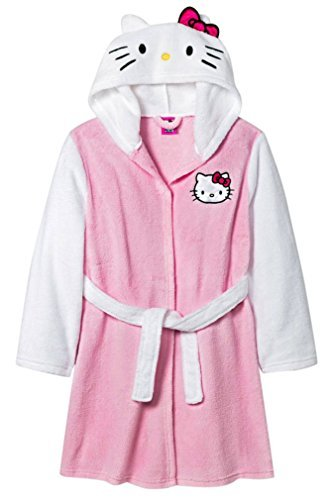 Girls Hello Kitty Pink and White Plush Bath Robe (Sizes 4-16) (Small)