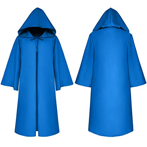 Hooded Robe Blue (Dasior Unisex Hooded Cloak Robe Halloween Cosplay Knight Fancy Cape Party Costumes Child S Pool)