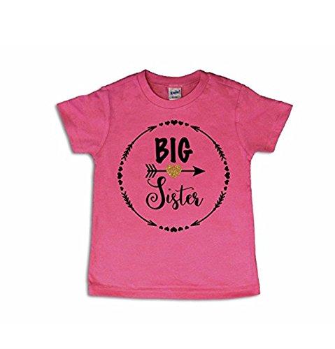 Big Sister Gift/Big Sister Shirt/Big Sister Top (Youth Medium 10-12, Hot Pink)