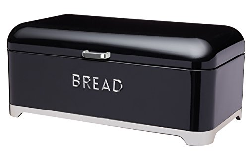 Designer Bread Bin - Kitchen Craft Lovello Bread Bin, 42 x 22cm (16.5 x 8.5) - Black By Kitchencraft