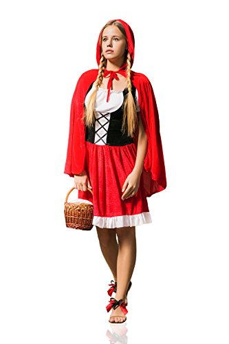 La Mascarade Adult Women Red Riding Hood Halloween Costume Little Red Cap Dress Up & Role Play (X-Small/Small, Red, White and Black) (Little Red Riding Hood Dress Up Ideas)