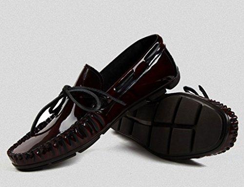 Zapatos Clásicos de Piel para Hombre Zapatos de guisantes Zapatos de cuero para hombres Ocio Estilo británico Tumbona de marea ( Color : Vino rojo , Tamaño : EU42/UK7.5 ) Vino Rojo