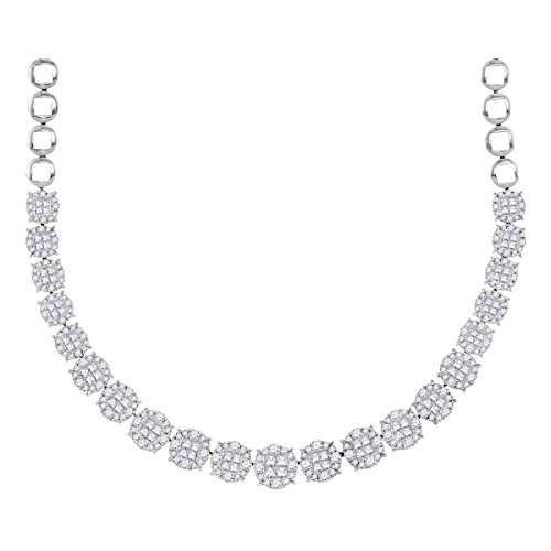 Roy Rose Jewelry 14K White Gold Womens Princess Diamond Soleil Cluster Luxury Necklace 10-Carat tw