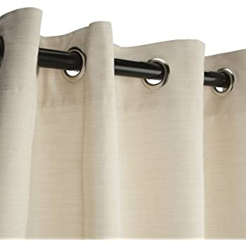 Sunbrella Outdoor Curtain With Grommets Nickle Dupione Pearl