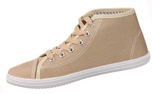 Damen Schuhe Sneaker Freizeitschuhe High Top USA FLAGGE Hellbraun 40 , Weitere Farben: schwarz braun weiß, Weitere Größen: 36 37 38 39 40 41