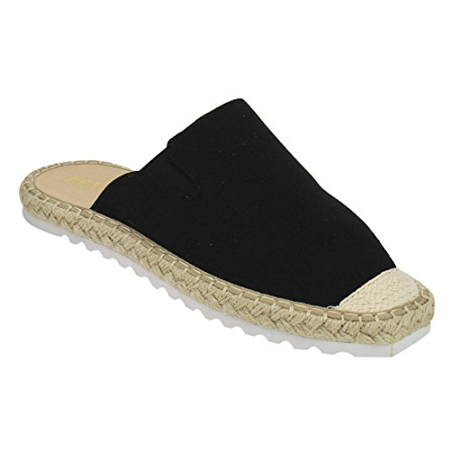 Beston De49 Donna Slip On Lug Suola Espadrillas Flat Mule One Size Small Black