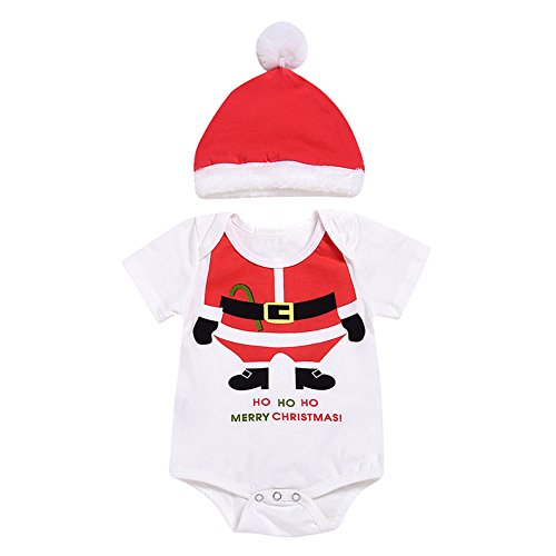 Bingirl Newborn Baby Girl Boy Romper + Hat Set Cute Creative Santa Claus Costume Xmas Gift White -
