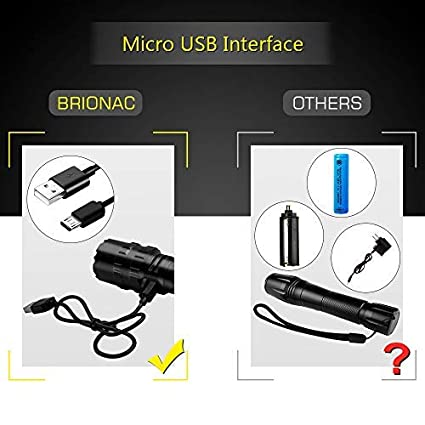 Best Powerful Waterproof Flashlight-2 Pack Batteries Not Included Brionac LED Tactical Flashlight Portable with Belt Clip for Biking Camping Emergency Adjustable Focus and 5 Light Modes