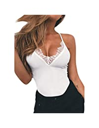 Coromose Women V Neck Lace Tank Sleeveless Crop Sexy Tops Camisole Blouse Vest